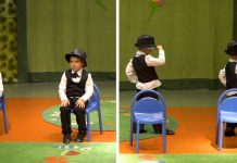 kids perform musical chair dance