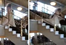 Bride falling down stairs