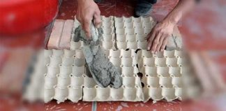 Wet Cement And Egg Cartons