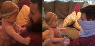baby reacts daddy face
